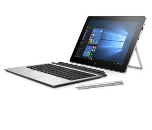 """SEE IMPORTANT *NOTES* HP Elite x2 1012 G1 (12"""", OGS touch, Natural Silver) with Windows 10 screen, Catalog, detached, left facing with stylus"""